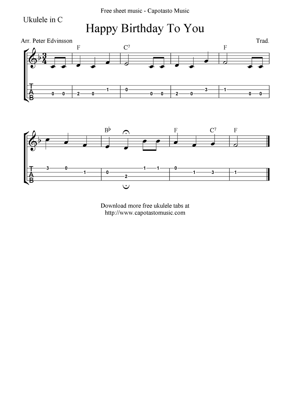 """Happy Birthday To You"" Ukulele Sheet Music Free"