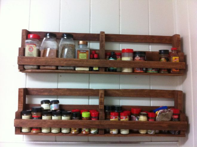 A home made spice rack made out of pallets homes
