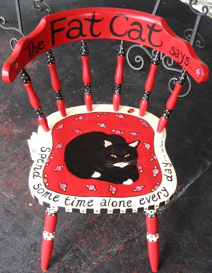 Fat Cat painted chair O.C.D. (Obsessive Cat Disorder