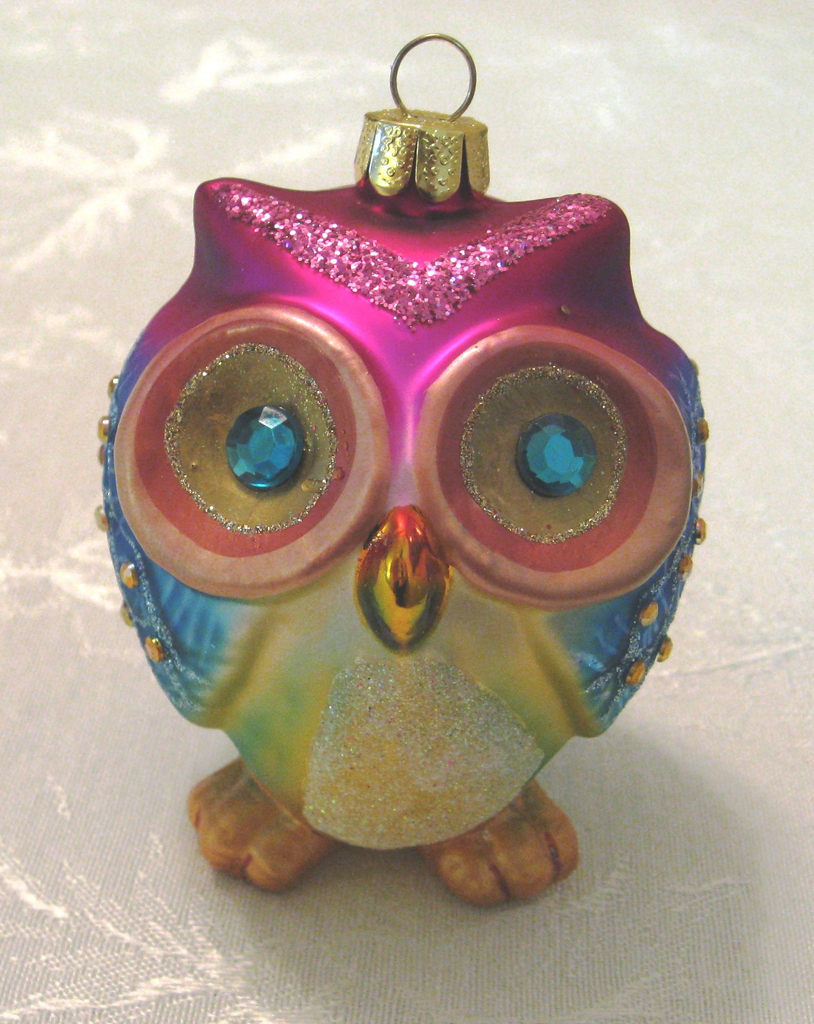Vintage Christmas Ornament Colorful Glass Owl Ornament