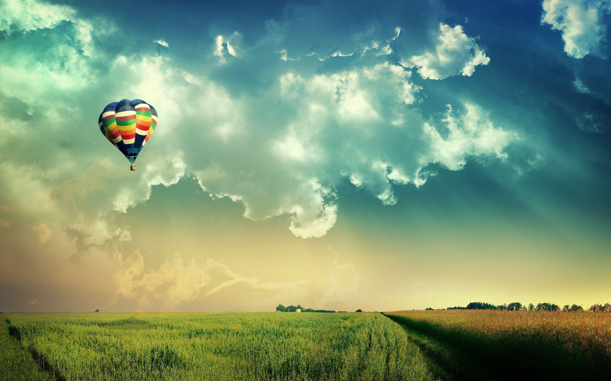 hot air balloon landscape image wallpaper   háttérképek