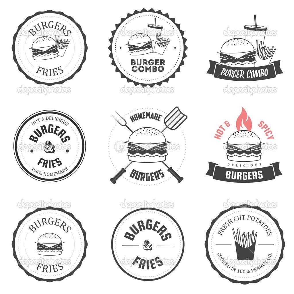 Set of burger and fries restaurant labels, badges design