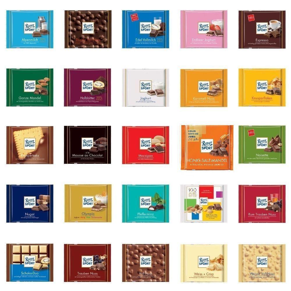 3 x 100g Ritter Sport Chocolate Bar Different Flavors