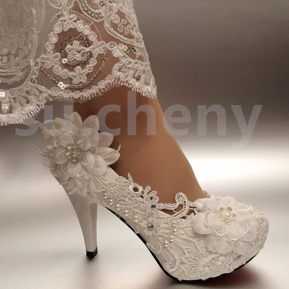 """2/3/4"""" White ivory heels lace ribbon crystal pearl Wedding"""