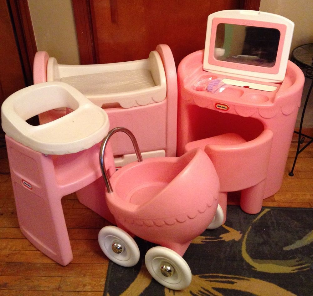 LOT Vintage Little Tikes Pink CHILD SIZE Vanity High chair