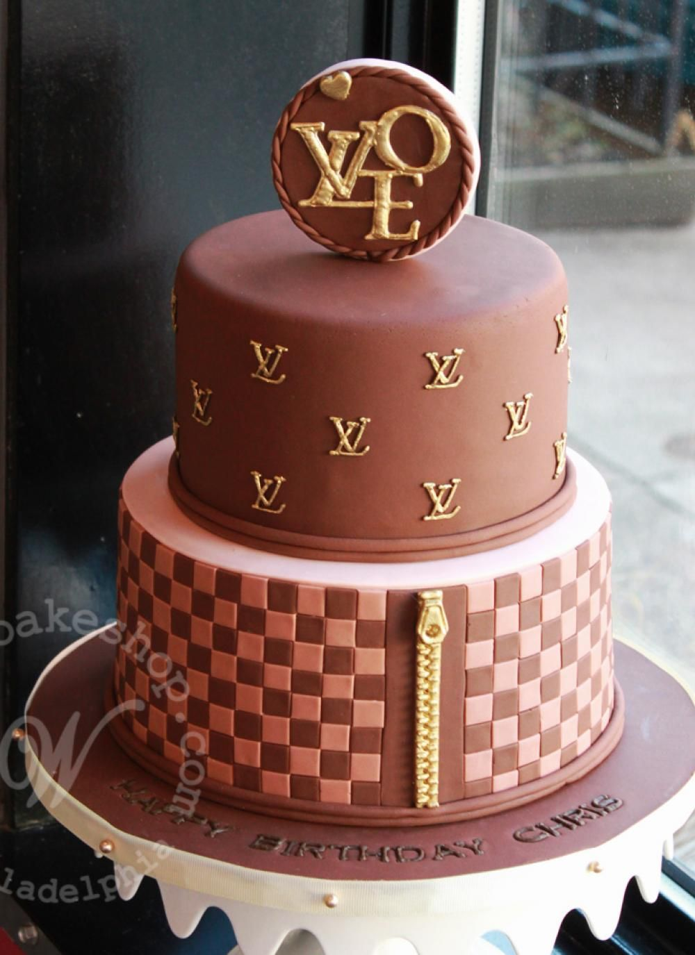 Tiered Louis Vuitton Logo Cake by Whipped in