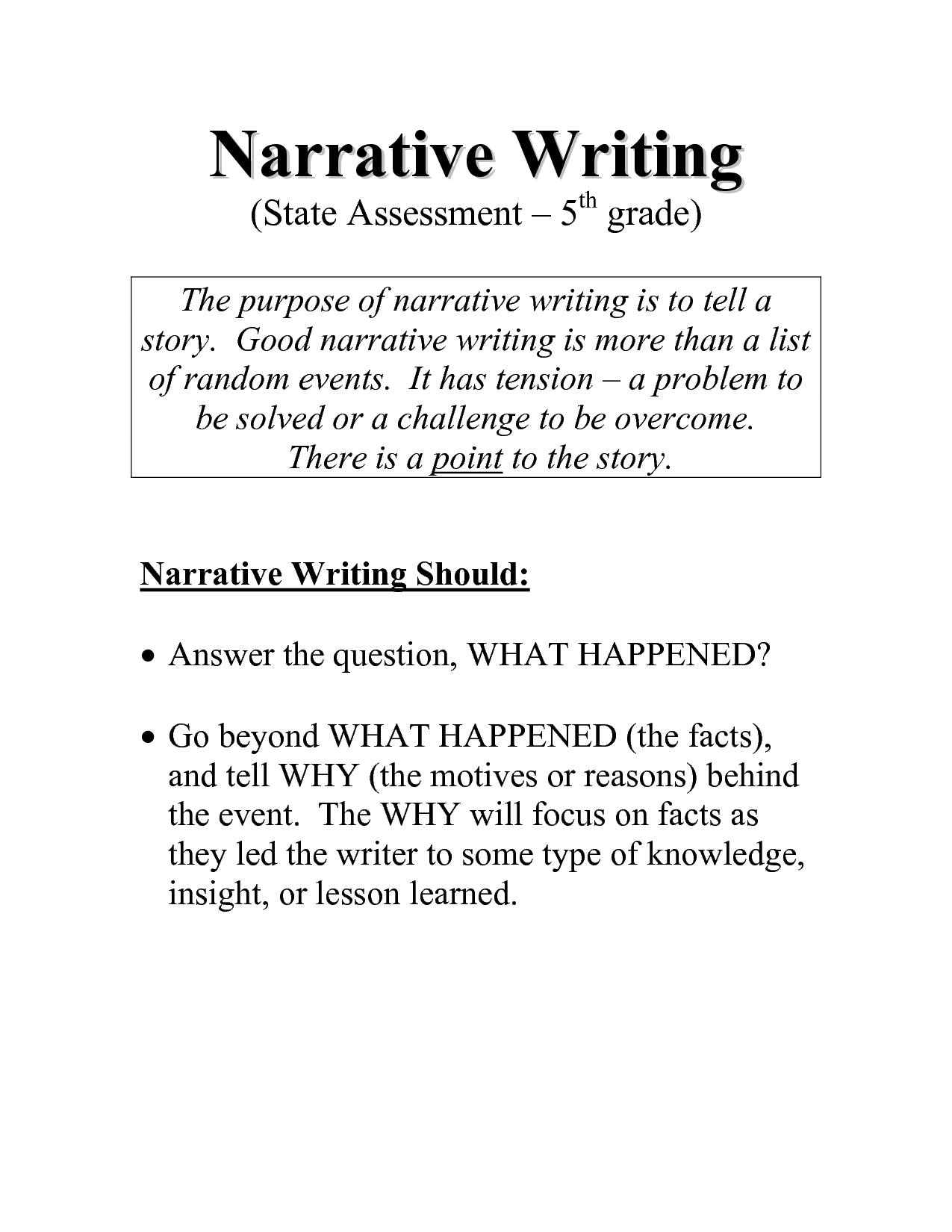 Writing Prompts 3rd Grade Personal Narrative