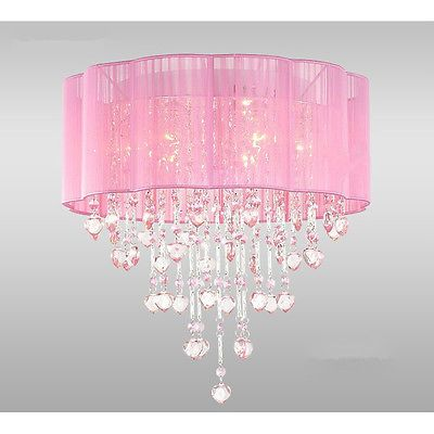6 Light Pink Chandelier For S Rooms With Chrome And Crystal Shaped Pieces
