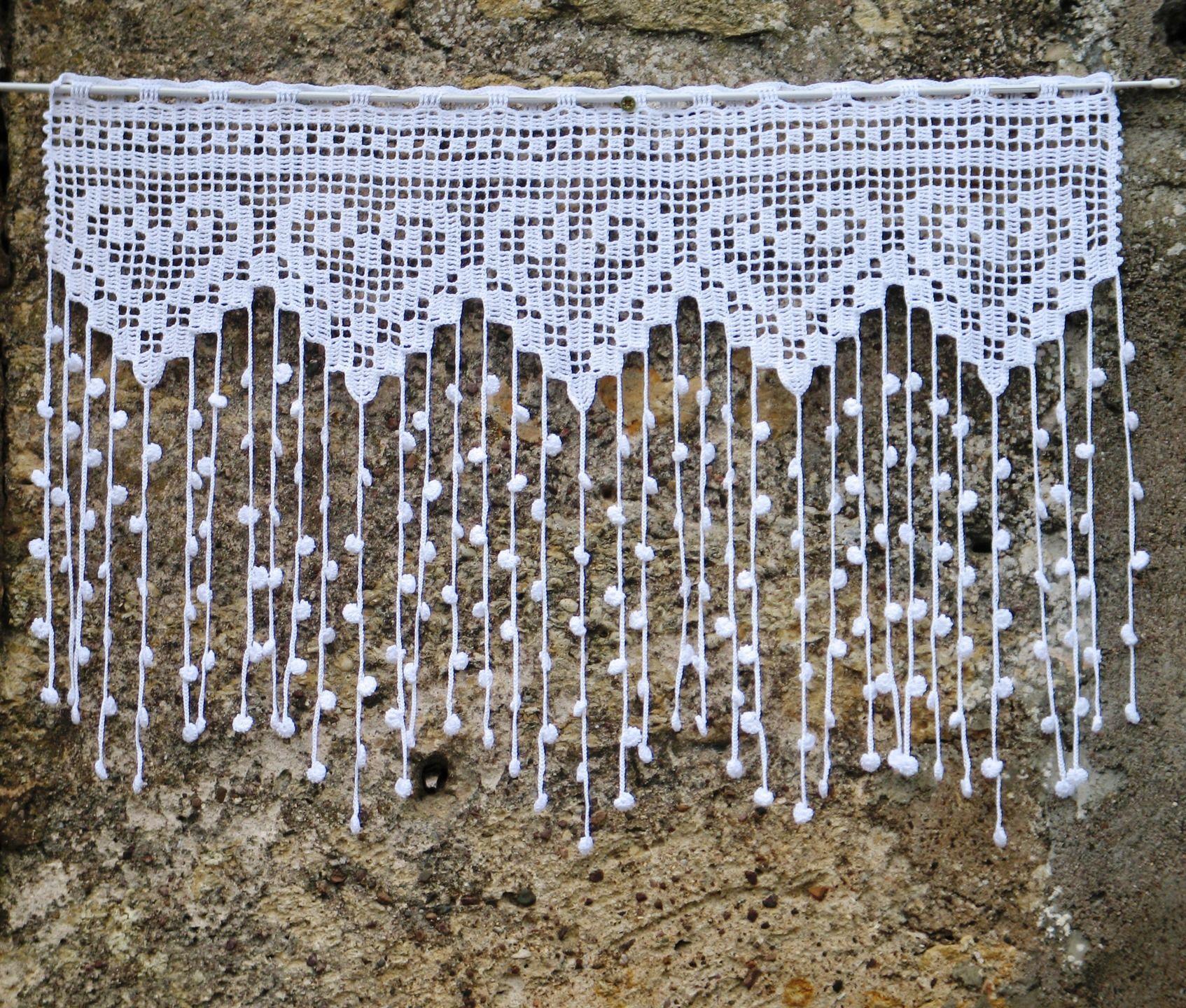 Rideau Blanc En Filet De Crochet Pour Fenetre Ou Porte
