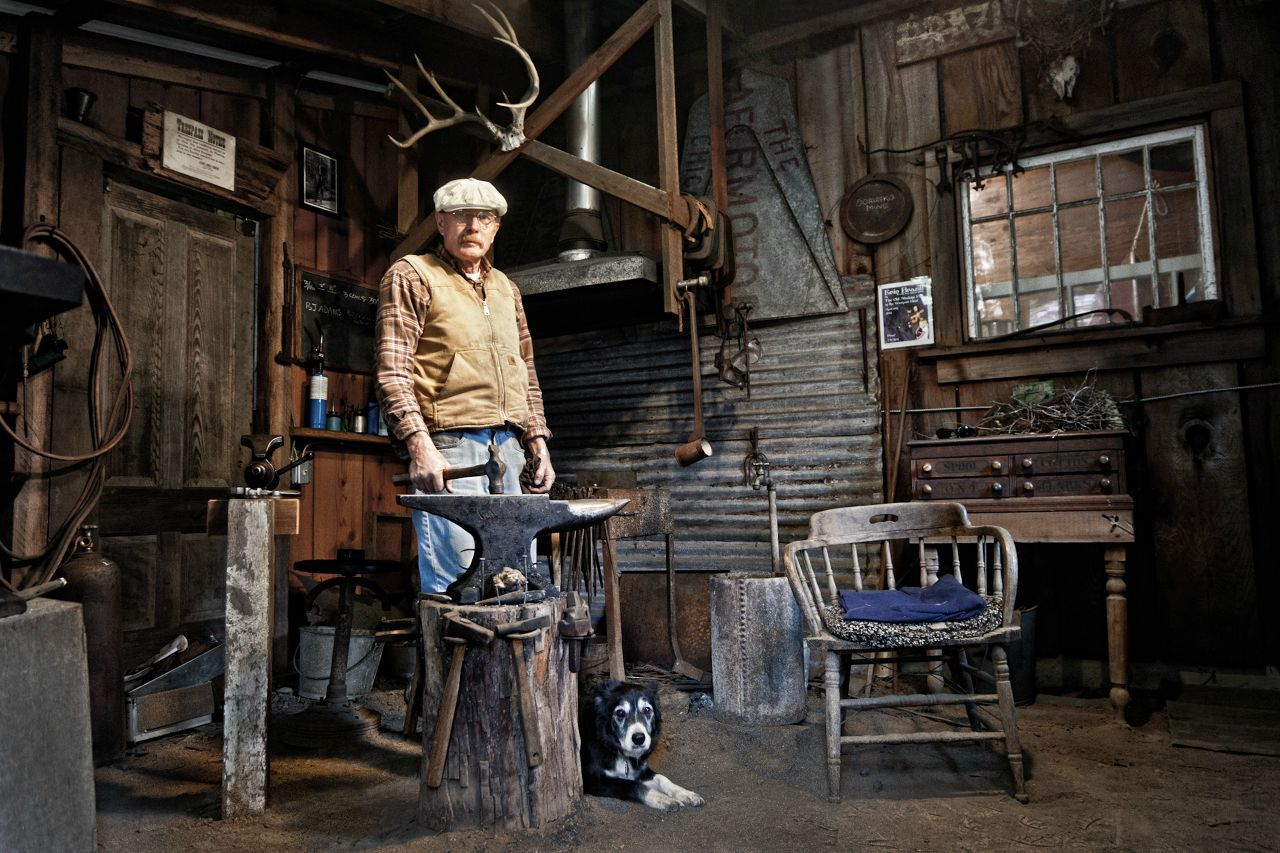 I took this photo of my dad in his blacksmith shop