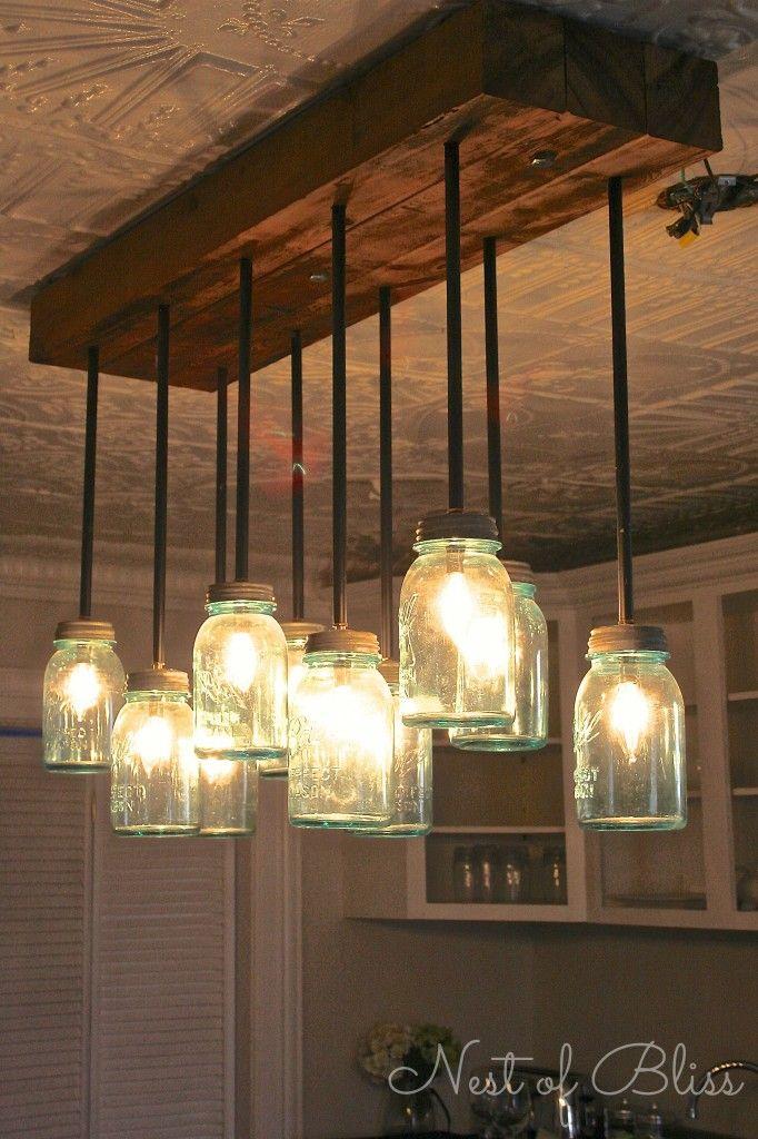 Mason Jar Chandelier On Pinterest Mason Jar Lighting