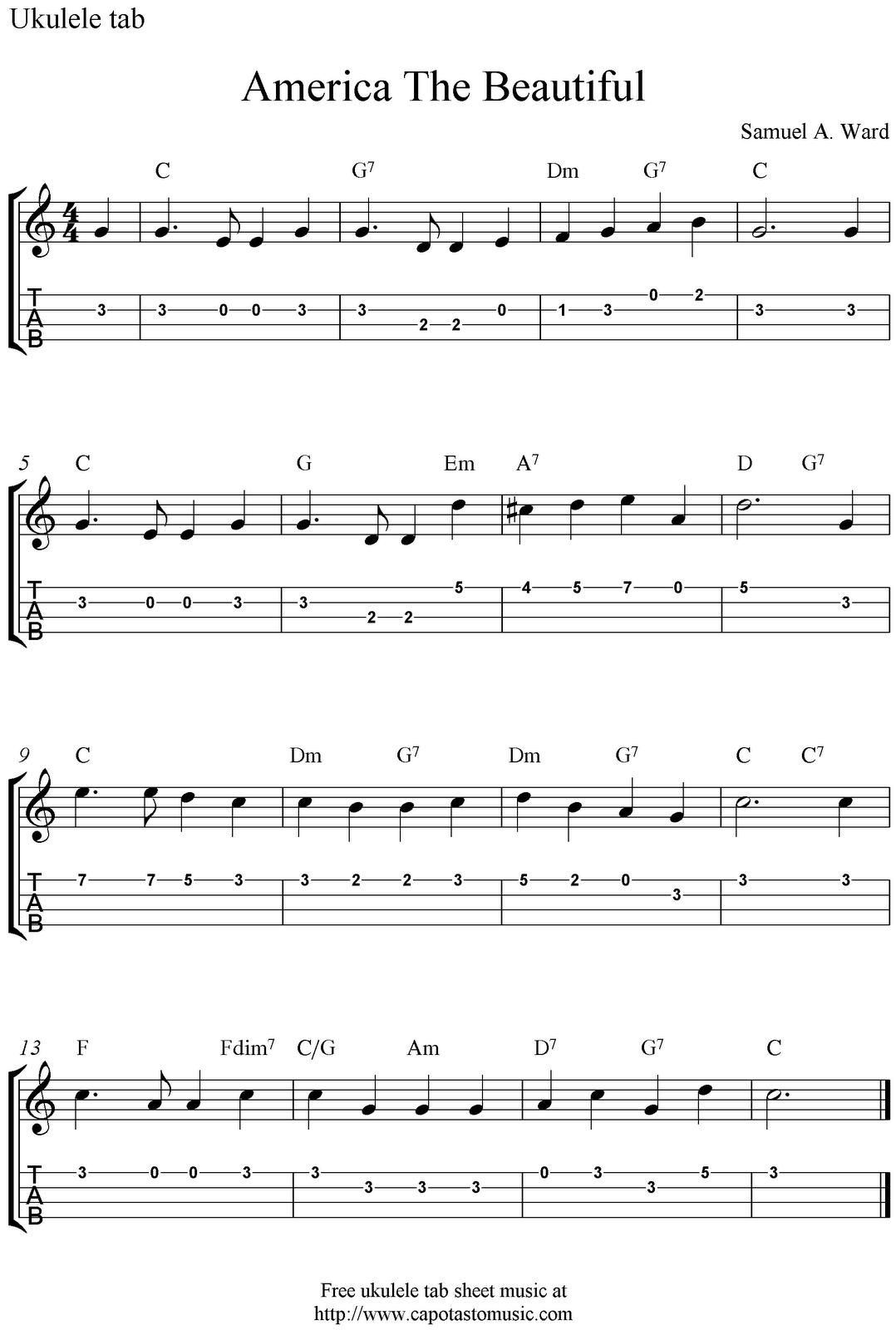 America The Beautiful Ukulele Sheet Music