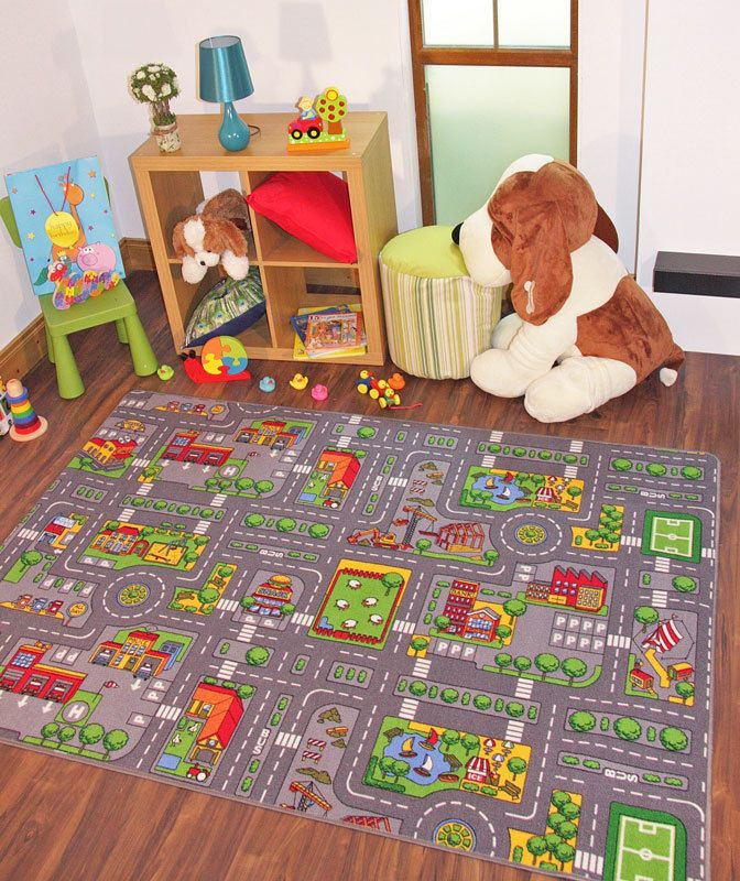 Children's Rugs Town Road Map City Rug Play Village Mat