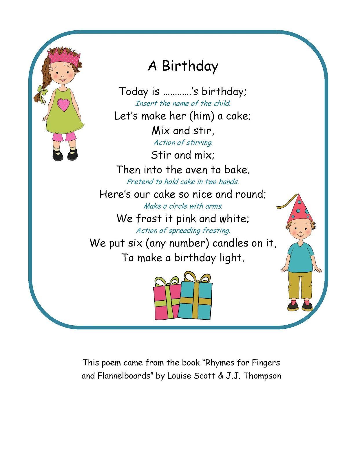 Preschool Printables Birthday Poem