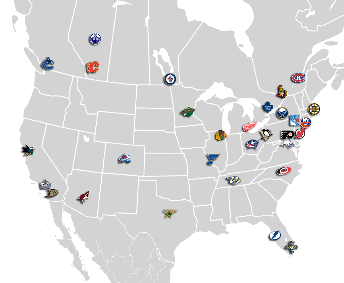 Map of NHL Team Locations , General NHL Talk , General NHL