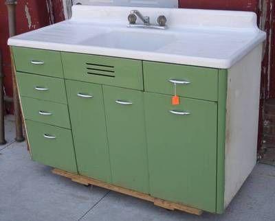 Vintage Retro Metal Kitchen Cabinet Cast Iron Sink