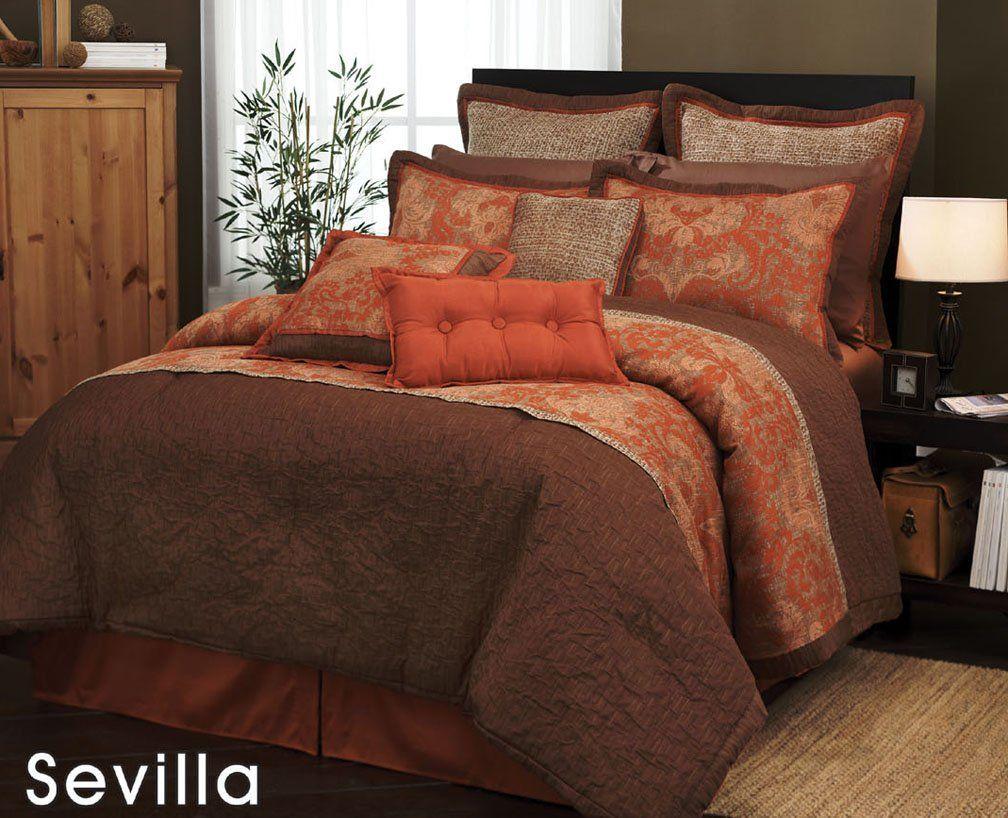 Amazon Com 7 Pieces Traditional Orange And Brown Jacquard