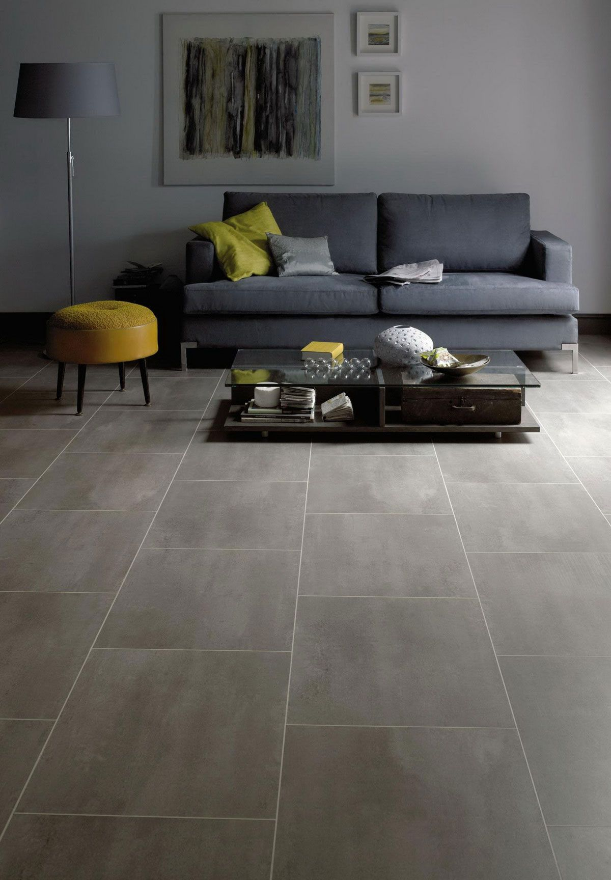 Love this large porcelain tile flooring look using vinyl