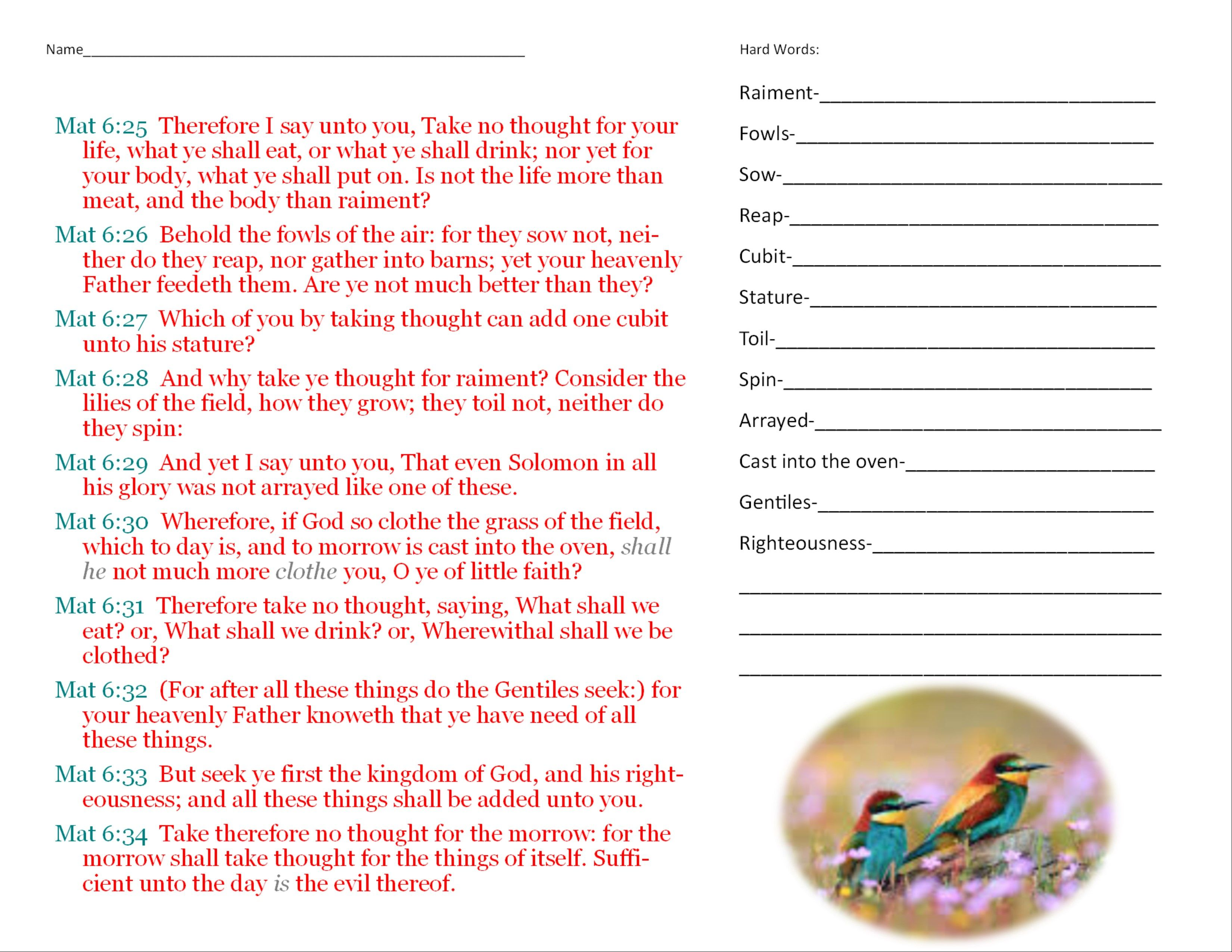 This Is A Worksheet For A Lesson On Matthew 6 25 34 It Has The Vocabulary Words On One Side