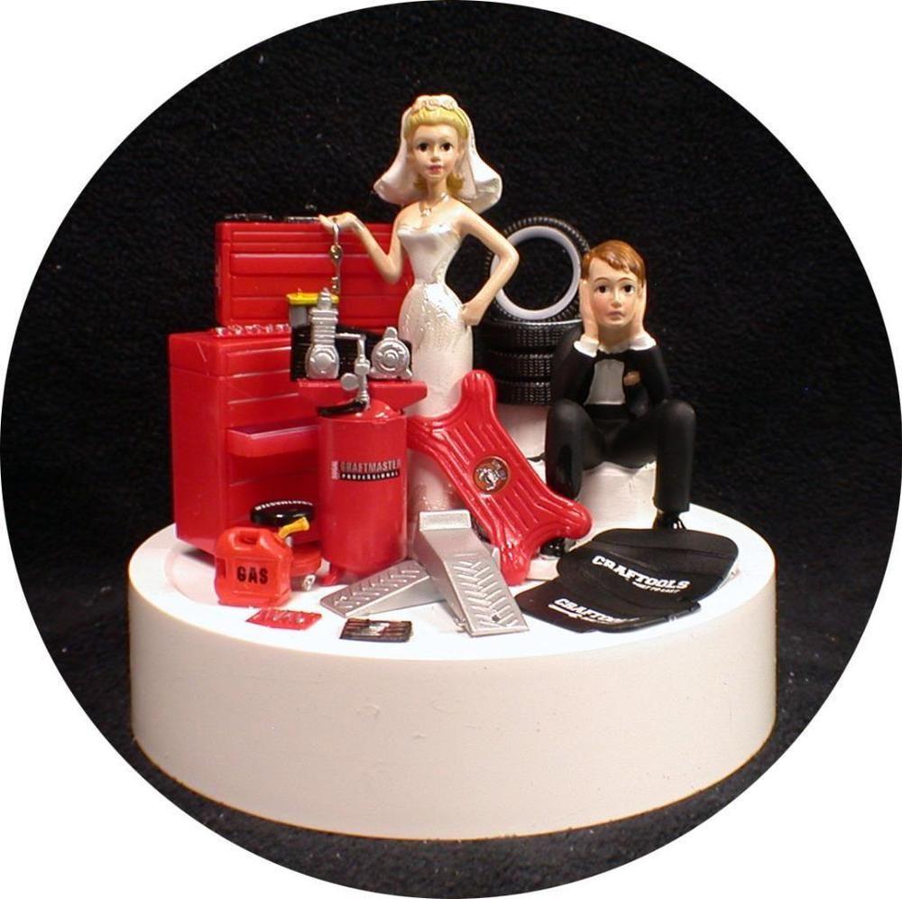Car AUTO MECHANIC Wedding Cake Topper Key Bride Groom Top