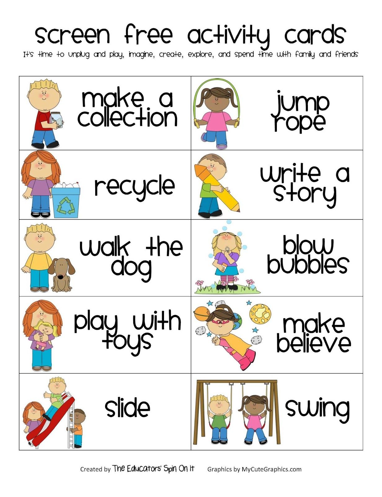 Screen Free Week Activity Cards Printables And Resources