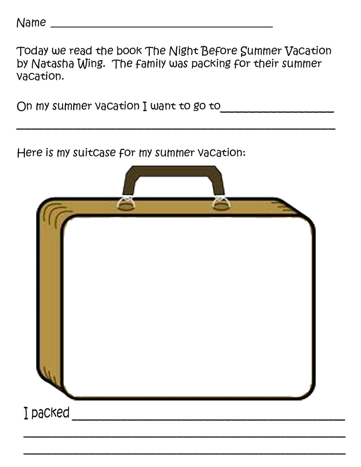 Night Before Summer Vacation Worksheet