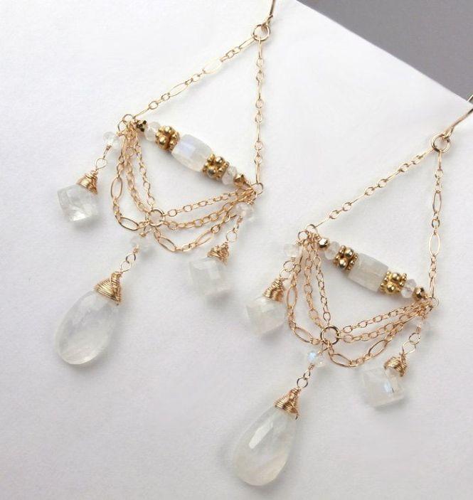 Moonstone Chandelier Earrings 14kt Gold Filled Chain Wire Wred Luxury Fashion Wedding