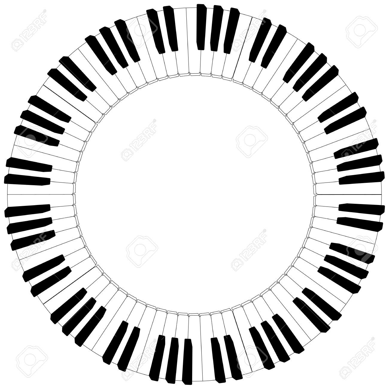 Round Piano Keyboard Frame In Black And White