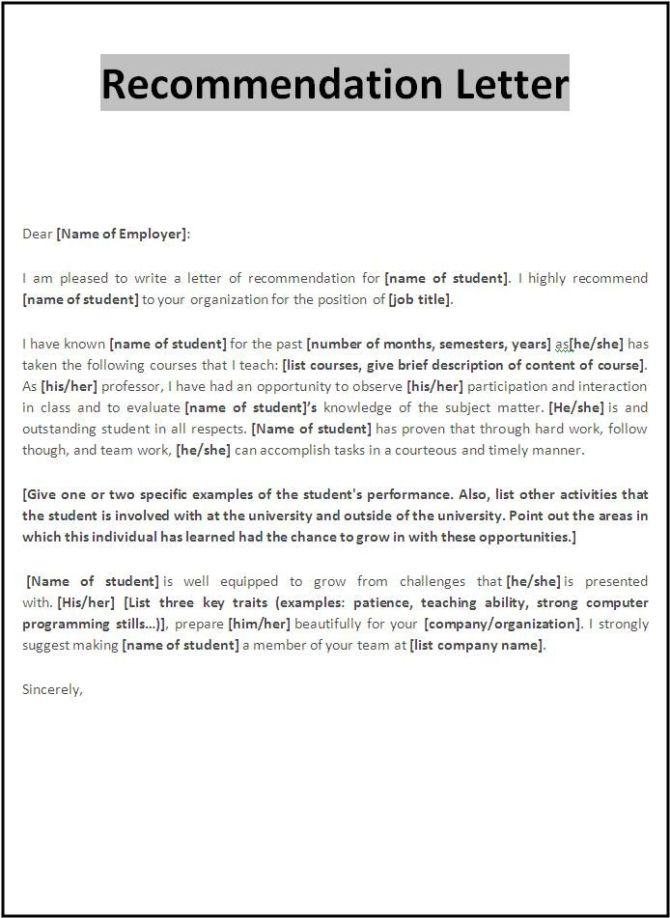Image result for job referral letter template