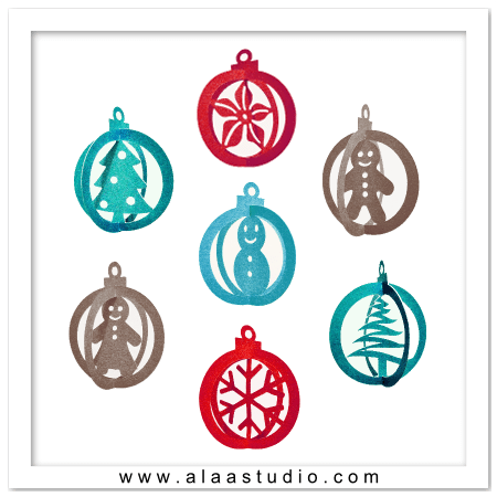 3D Christmas Ornaments SVG, DXF, PDF cutting files by Alaa