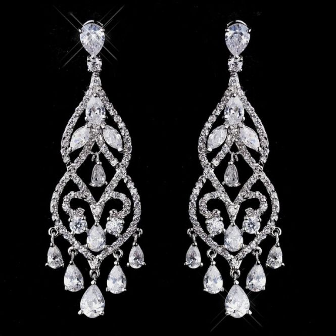 Classic Elegant And Dazzling In Design The Janessa Wedding Chandelier Earrings Feature A Shimmering Cascade Of Cubic Zirconia Stones Rhodium Silver