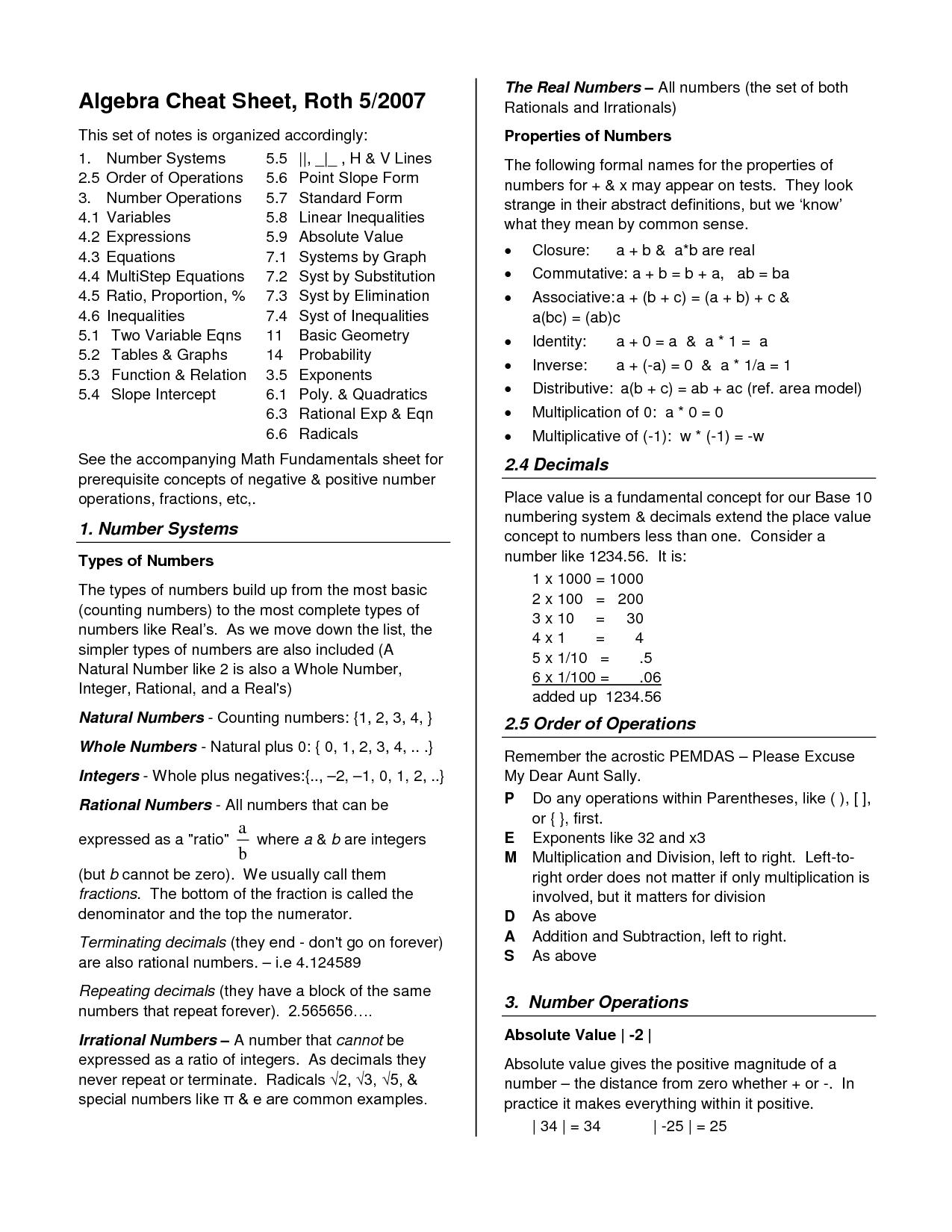 Gebra Formulas Cheat Sheet