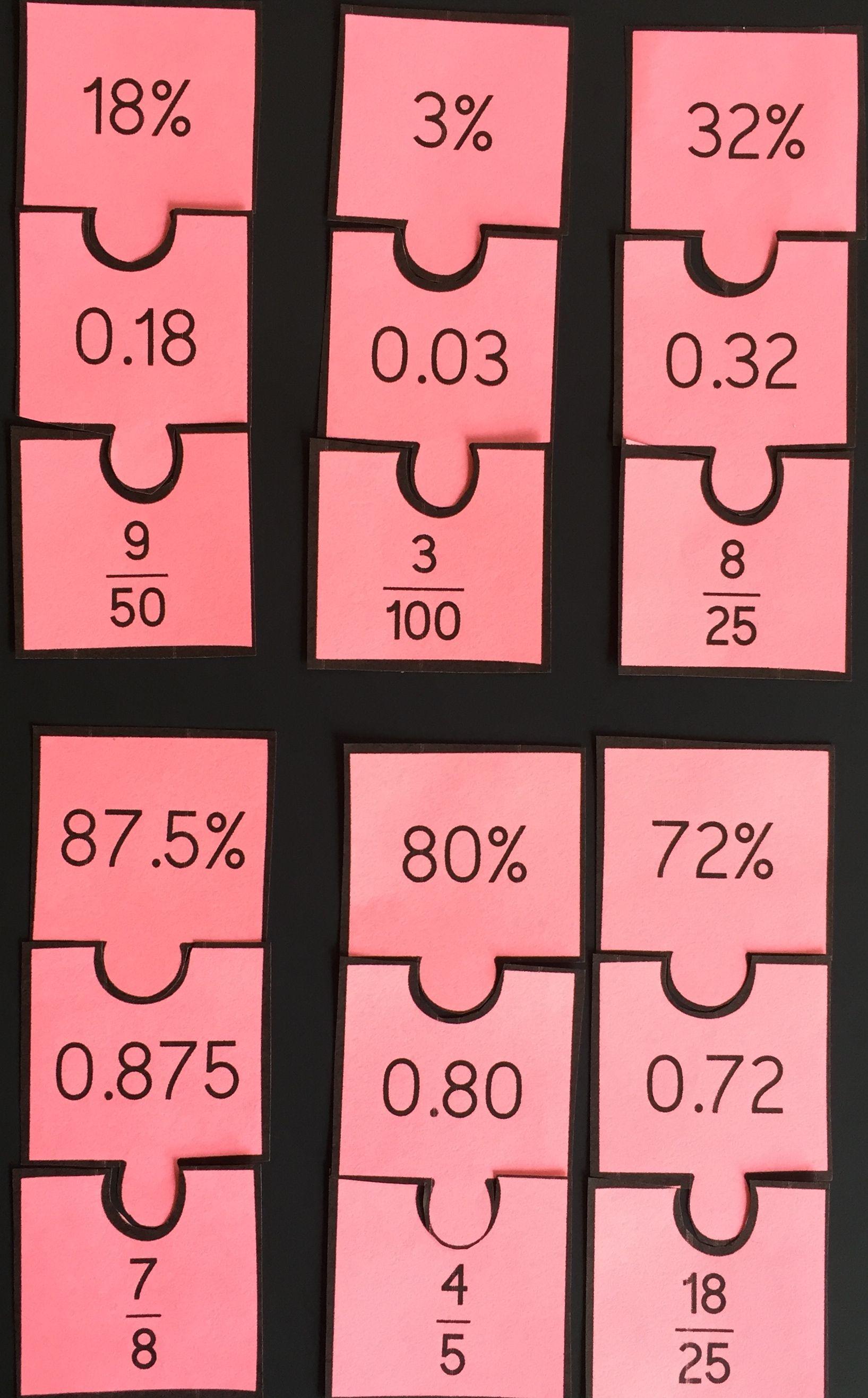 Fraction Decimal Percent Cut Out Puzzle
