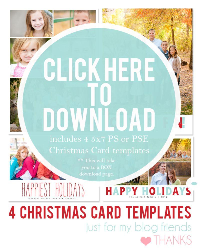 Downloadable Christmas Card Templates for photos