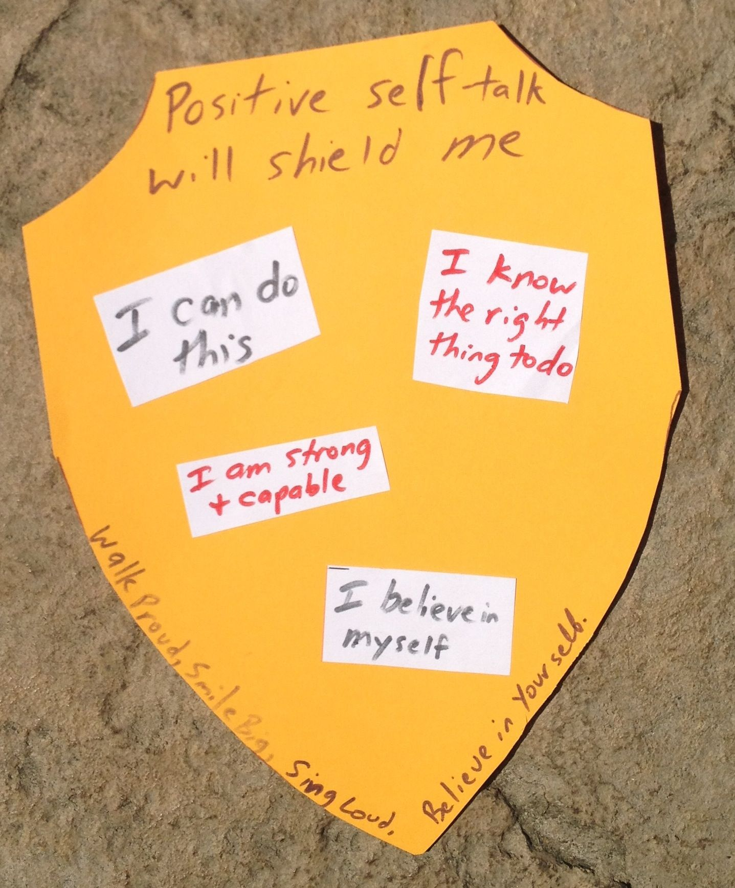 Positive Self Talk Shield Could Also Do Assertive Statements Or Ways To Respond To Teasing