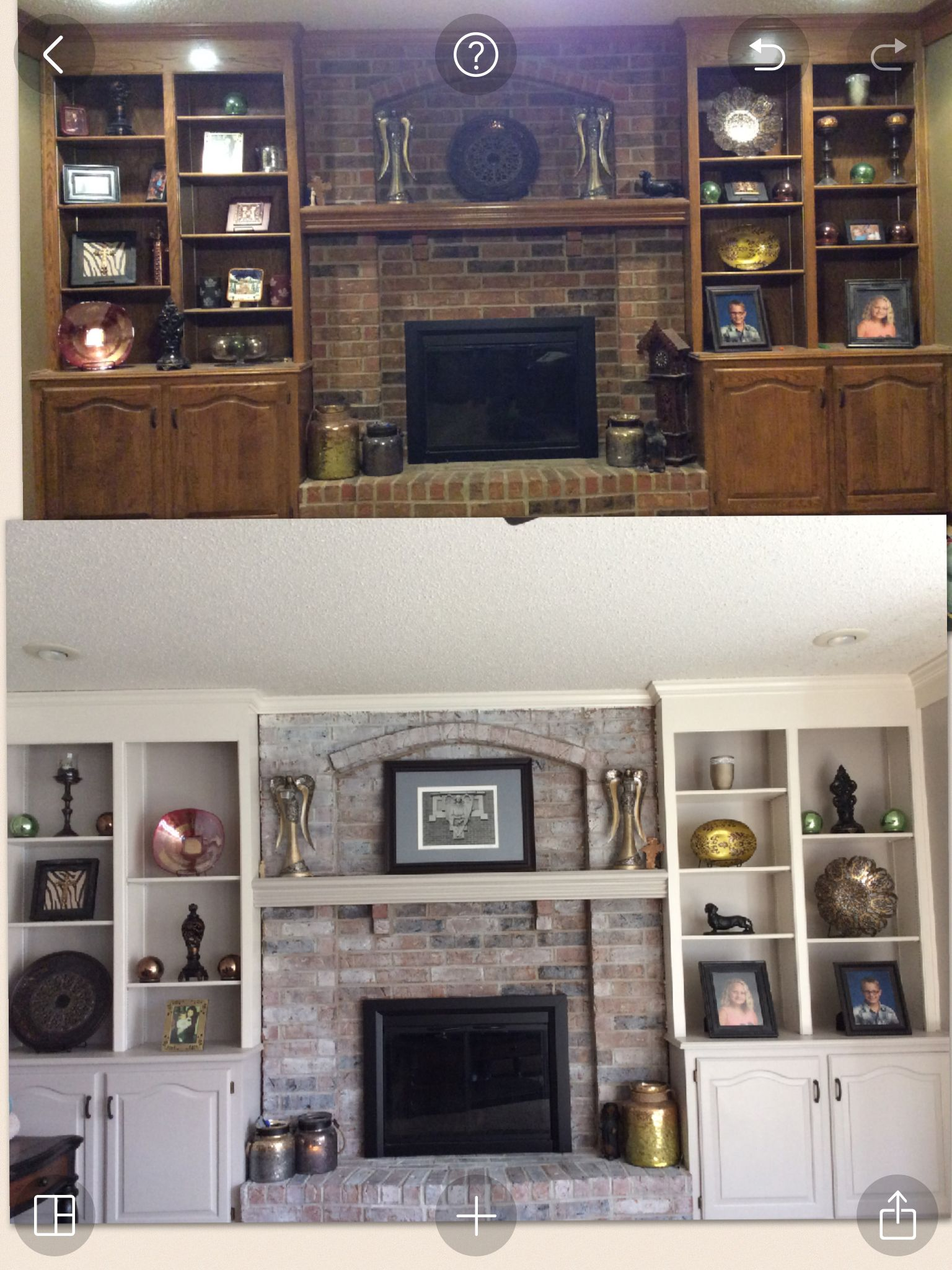 Whitewash Fireplace And Painted Cabinets With Gray And
