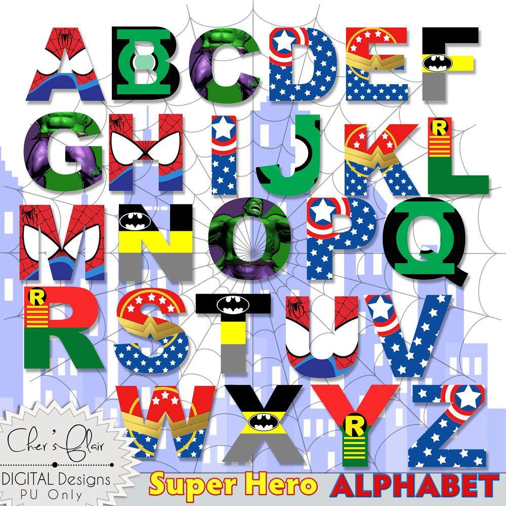 SUPERHERO ALPHABET LETTERS Superhero Digital Letters, 8