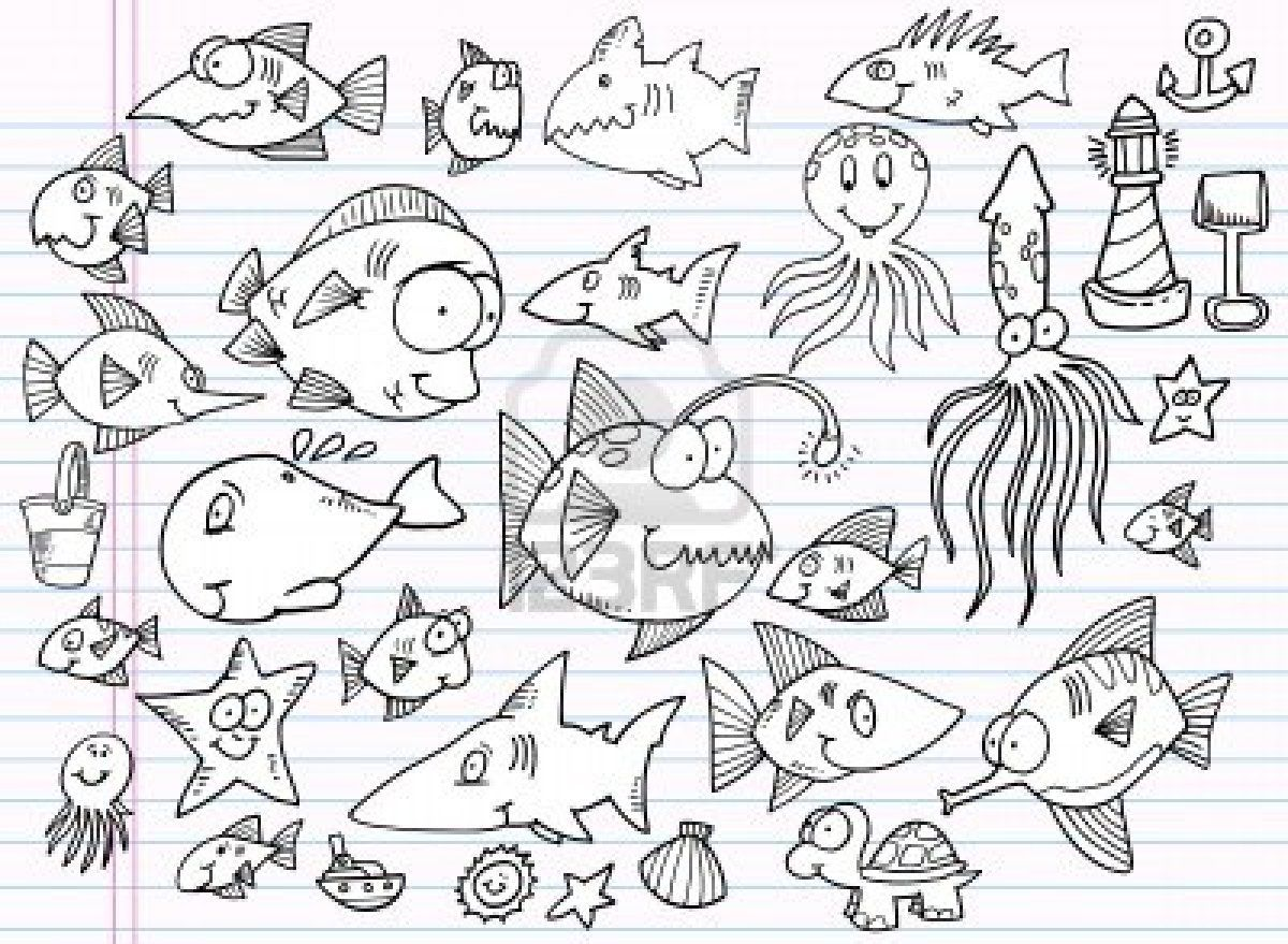 Notebook Doodle Estate Ocean Animal Set Vector Archivio