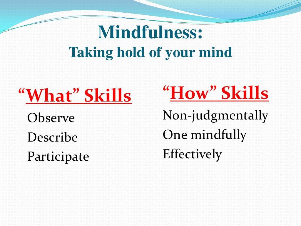 Dbt Mindfulness What Amp How Skills