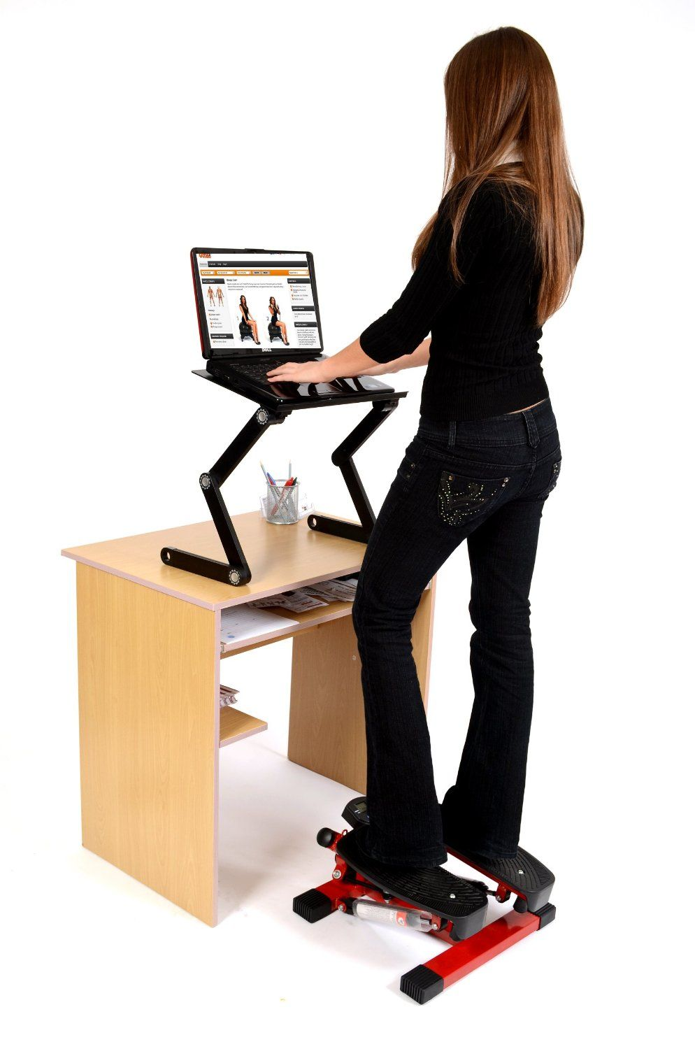 Office Fitness Twist Stepper with Bungee Cords Black/Red