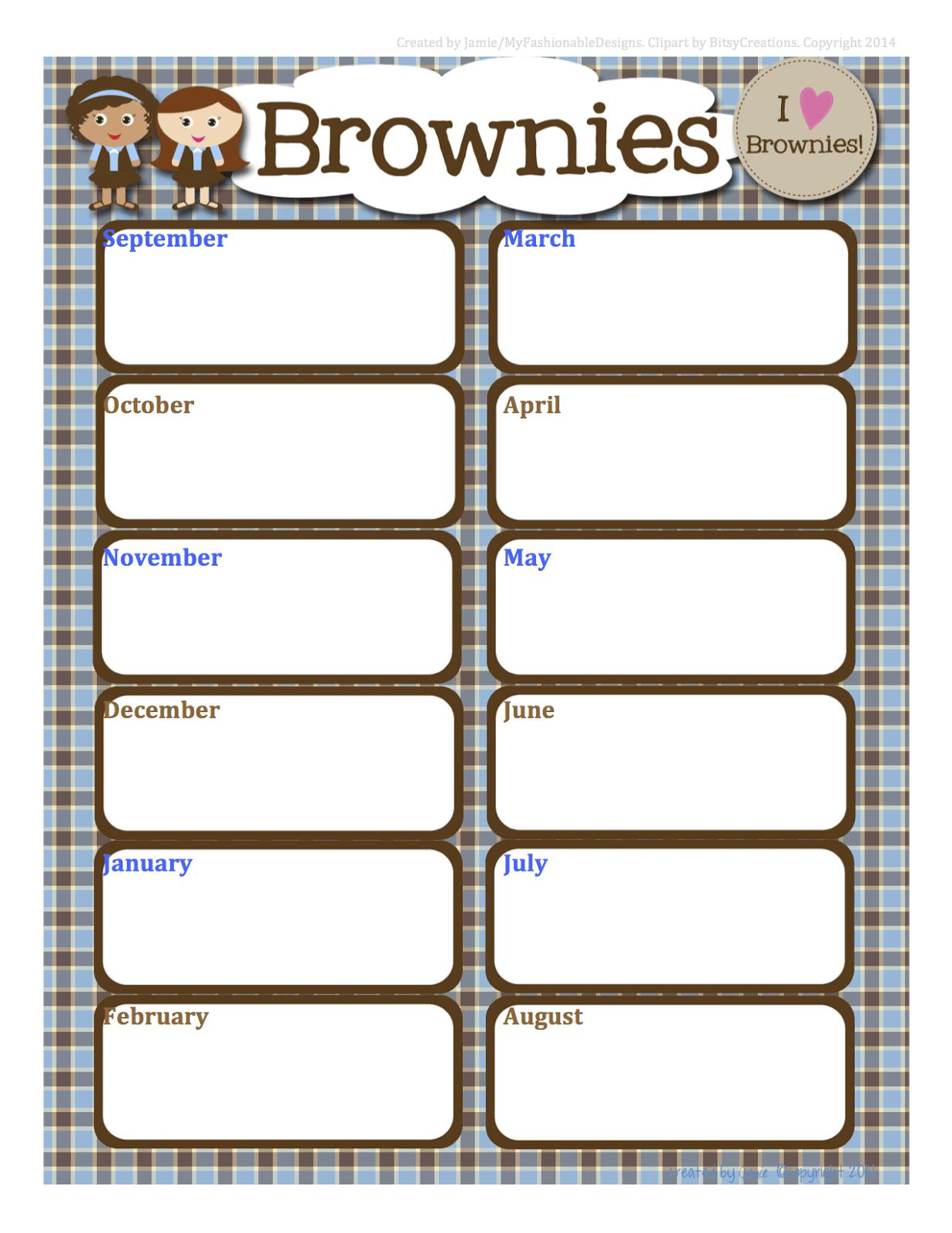 Girl Scouts Free Brownies Calendar