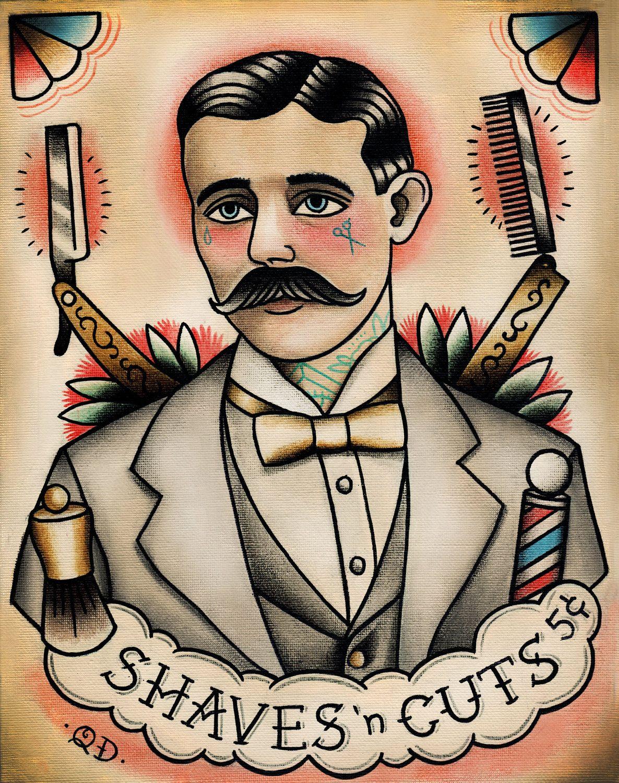 Traditional Tattooed Barber Tattoo Art Print Barber