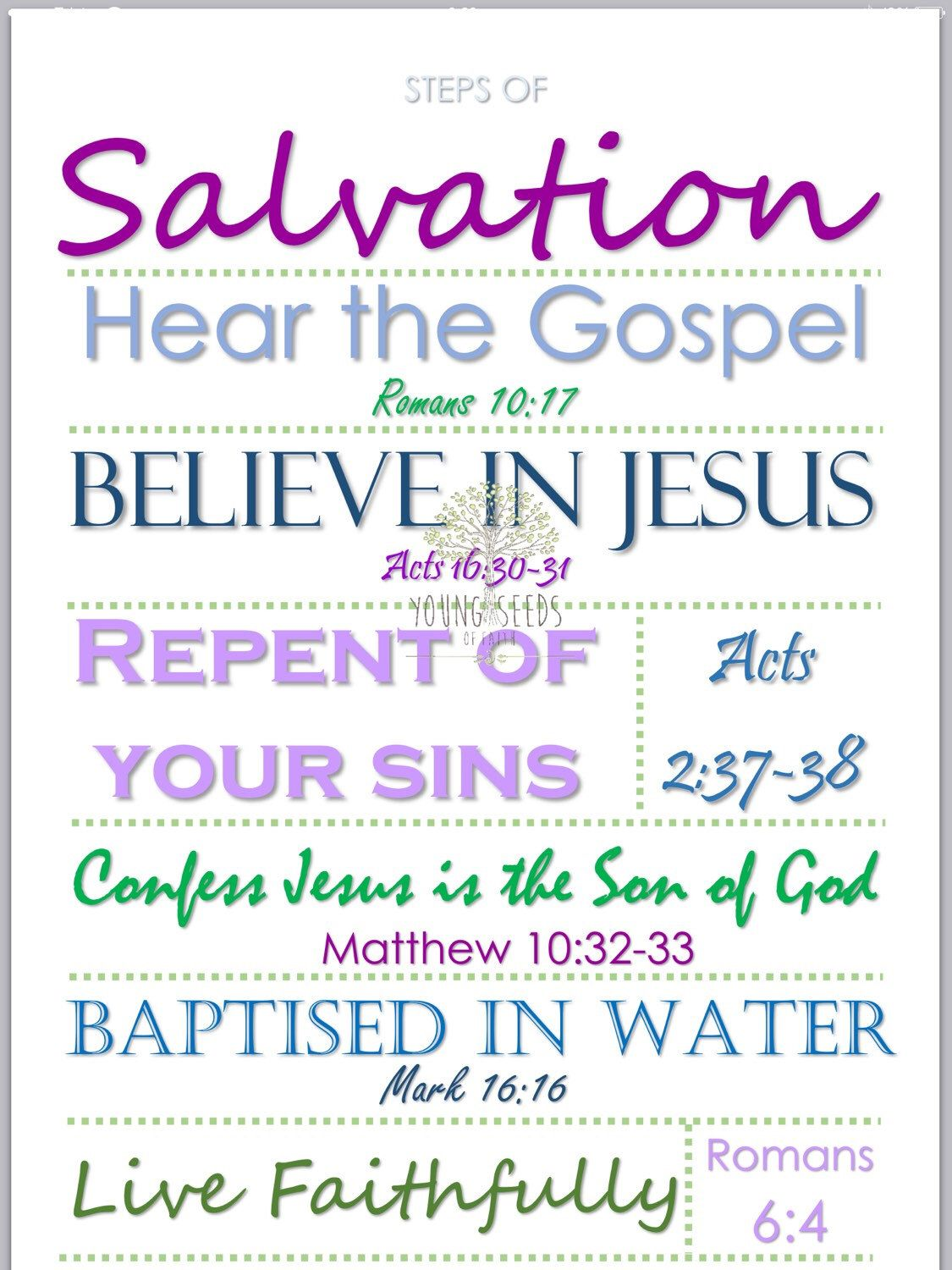 Steps Of Salvation Printable Sign Poster Worksheet