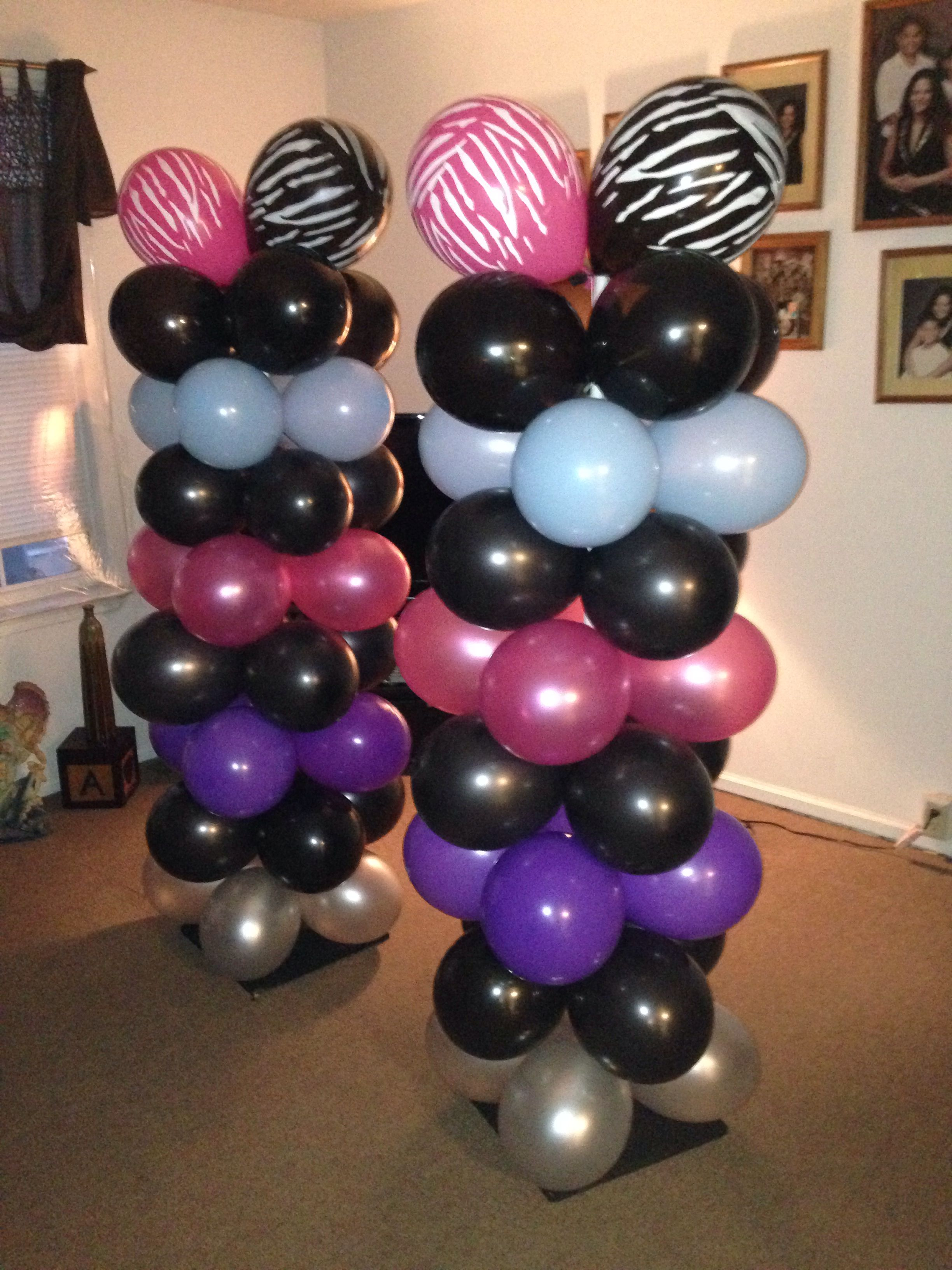 Balloon Columns For A Rockstar Party This Was 8 Rows With