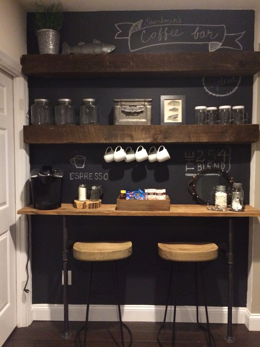 Coffee bar for a small space. Copy cat of the one on Fixer