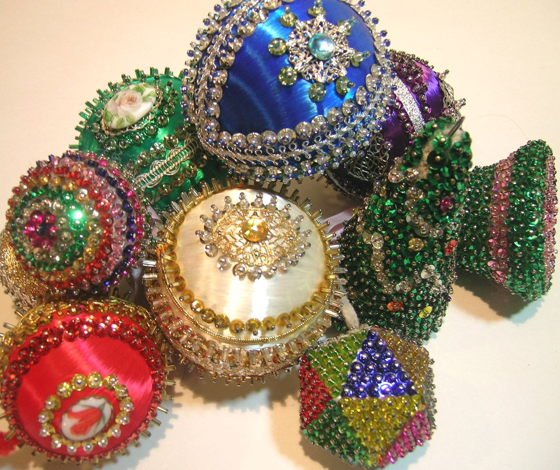 Old Sequin Ornaments! By Q is for Quilter Beaded