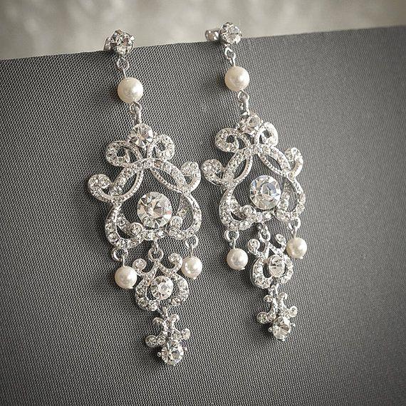 Wedding Earrings Swarovski Pearl And Crystal Bridal Silver Filigree Chandelier Vintage Style Jewelry Hera