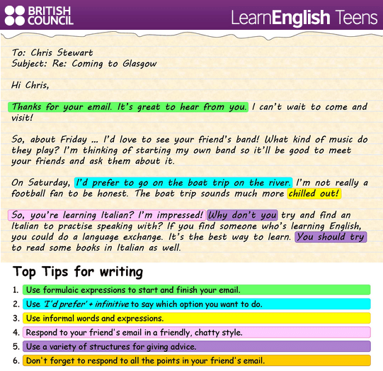 Writing an informal email. English learning Pinterest
