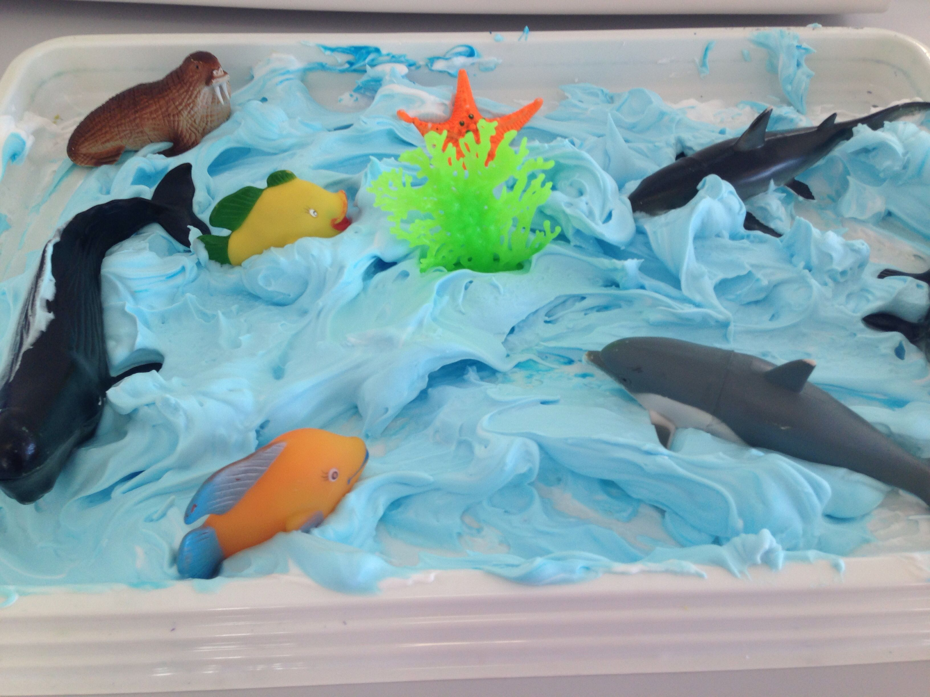 Under The Sea Play Shaving Cream With Blue Food Colouring And Sea Animals The Kids Love It