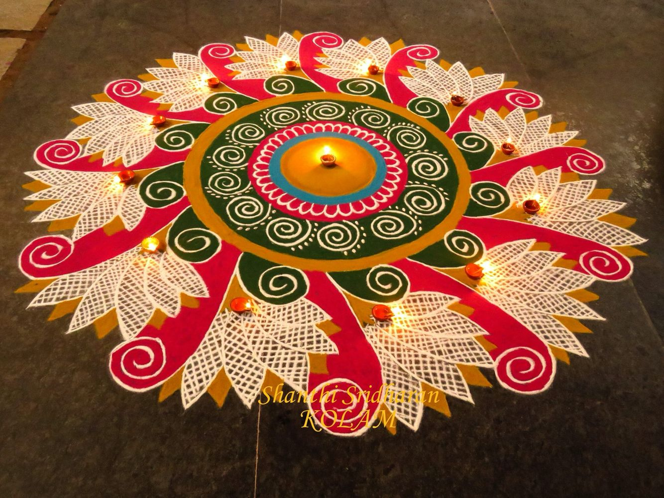 pink Kolam Kolam Pinterest Rangoli designs, Indian
